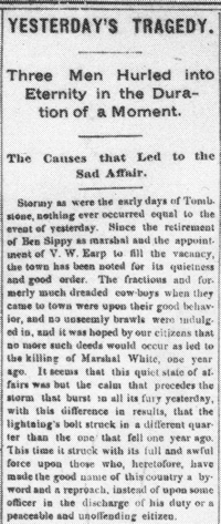 Tombstone Newspaper Article